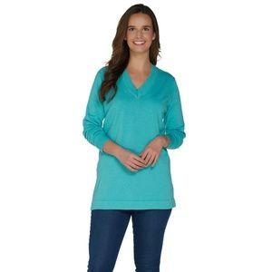 NEW Martha Stewart V-Neck Sweater XS Aqua